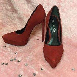 ALDO Made in Brazil Red Suede, Pointed toe Pumps